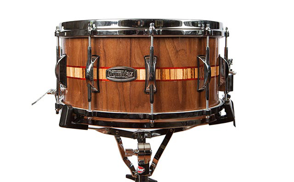 drummax custom drums snare drum made of walnut with zebrawood and paduak inlay, малый барабан из ореха со вставкой из зебравуда и падуака drummax custom drums