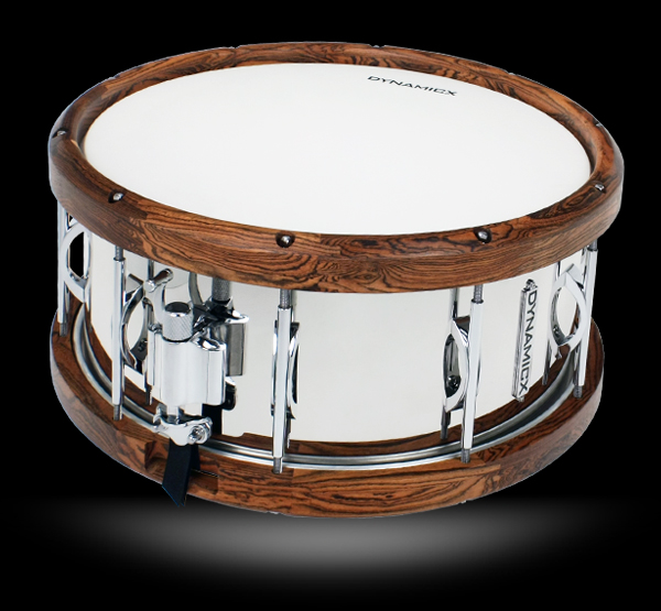 dynamicx stainless steel bocote snare drum, малый барабан dynamicx stainless steel bocote