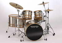 dynamicx stainless steel drum kit with zebra inlay, барабанная установка Dynamicx Stainless Steel Drum Kit