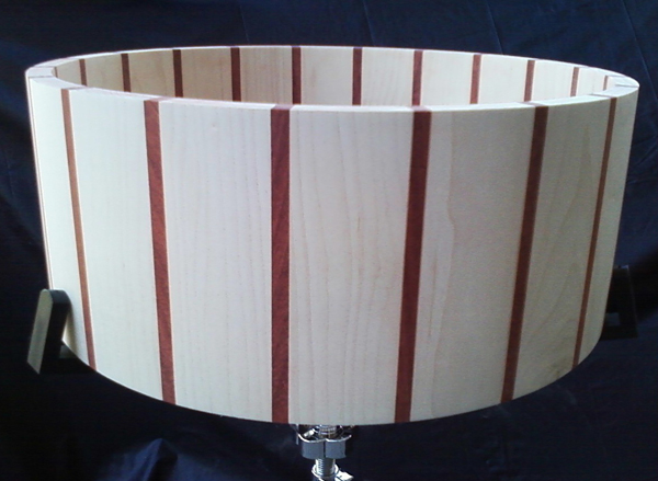 daville drumworks maple and paduak snare drum shell, кадло для малого барабана из клена и падуака daville drumworks