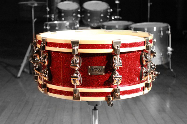 ayotte red sparkle confetti snare drum, малый барабан Ayotte Red Sparkle Confetti